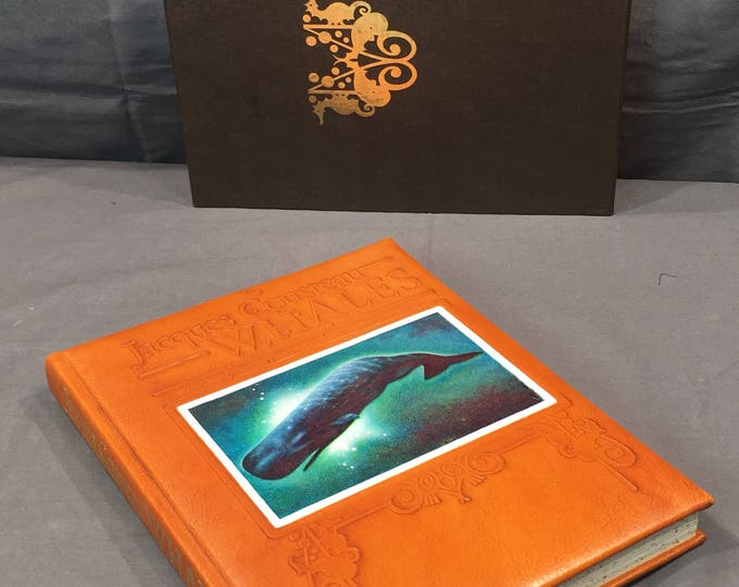 Vintage Whales Leather Book, 1988 Jacques Cousteau Limited Edition Book, Rare Decorative Nautical Book, Brown Ocean Marine Life Book