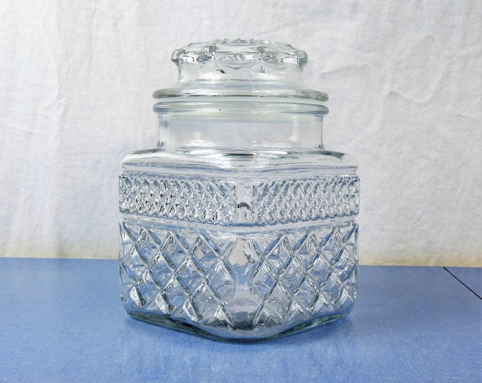 Vintage Quart Apothecary Jar, Square Anchor Hocking, Clear Kitchen Canister, Wexford Diamond & Gingham, Counter Decorations, Cookie Storage