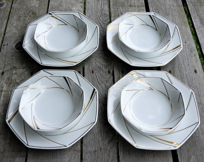 Vintage Ranmaru Dinnerware, 4 Salad Bowls, 4 Dinner Plates, Crystalline White, Gold Accents, Gallery Collections, Octagonal Glass Ceramics