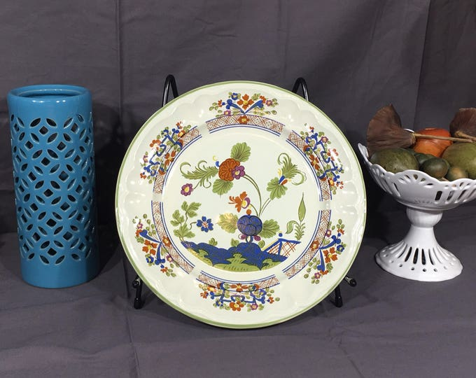 Vintage Lotus Valley Plate, Rare International China S-1104 Dish, White Ceramic Dinnerware, Decorative Platter, Provinstone Stoneware