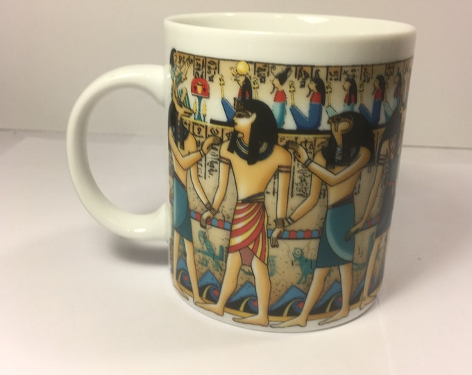 "Egyptian Luxor Mug, Blue Egypt Lynn Ceramic  Mug Cup, FSD Mug made in Japan 3.75"""