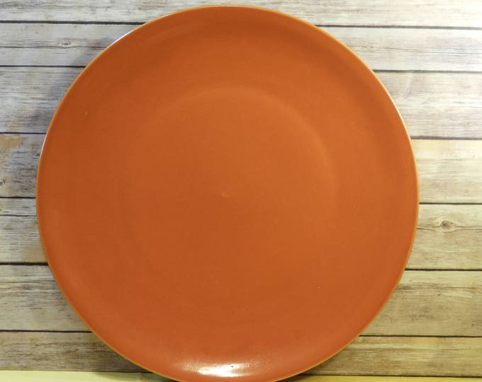 "Vintage Burnt Orange Stoneware Platter, 16.75"" Large Serving Plate, Mid Century Dinnerware, Round Wedding Tray, Quality Heavy Ceramic Dish"