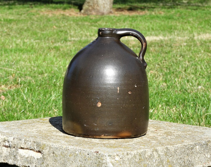 Antique Stoneware Jug, Brown Pottery, Oval Leaf Stamp, Primitive Home Decor, Salt Glaze, Ceramic Art, Country Bottle, Entryway Decoration