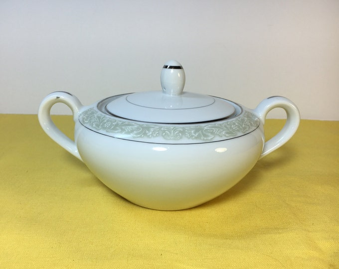 "Vintage Debutante Fine China Bowl, Sugar Bowl Dish w/Lid, White Porcelain Sugar Bowl Soft Green Around Top, Made in Japan 3.75"""