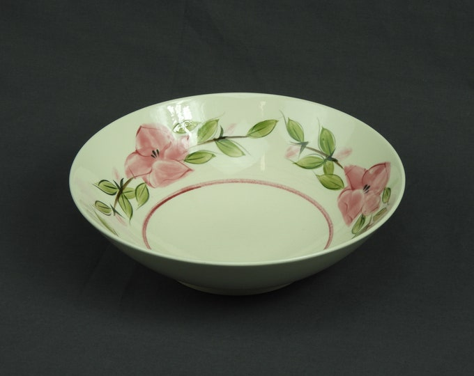 Vintage Serving Bowl, Brittany Dish, Pink Flowers, Semi Porcelain, Underglazed Colors, White & Green, Kitchen Decor, Ceramic Dinnerware