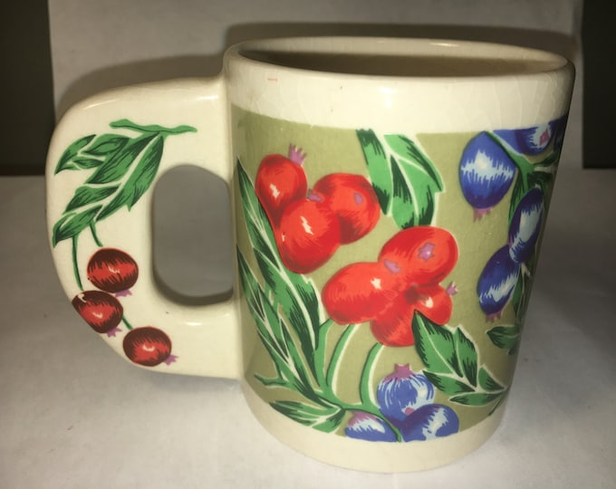 """Vintage Country Style Blueberries Cherries Mug Cup Thick Ornate Handle 3.75"""" tall"""