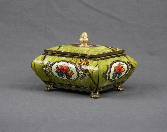 Vintage Metal Box, Hong Kong Tea Tin, Distressed Patina, Marbled Green, Red Rose, Chest Style, Jewelry Box, Home Decor, Vanity Ring Dish