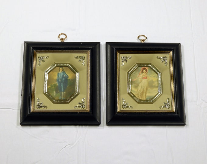 Vintage Wall Decor, 3D Victorian Decorations, Gentleman Lady Lithograph, Black Gold Shadow Box, Metal Frame, Home Decor, Entryway Vanity Art