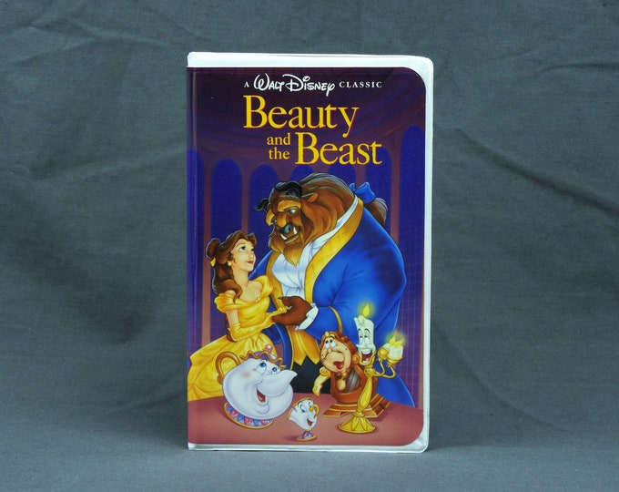 Vintage Walt Disney Movie, Beauty and the Beast, VHS Tape, 11 23 1992, The Classics, Christmas Lead, Childs Film, Kids Cartoon, Pink & Blue