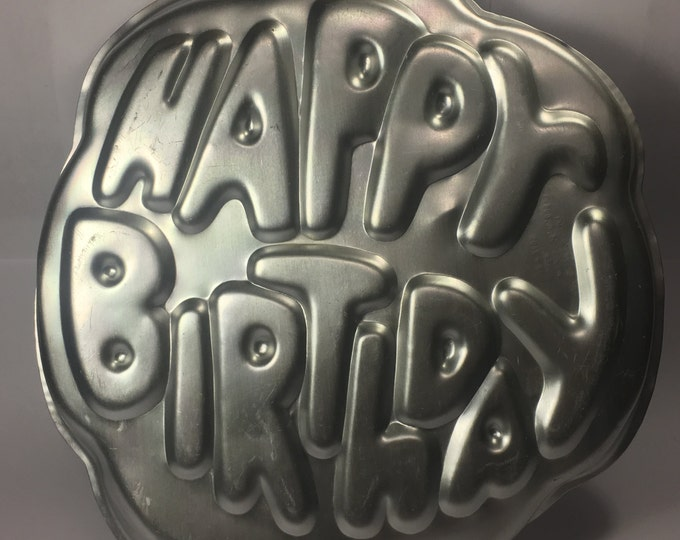 Vintage Cake Pan Mold Happy Birthday Wilton 1980 made in Korea