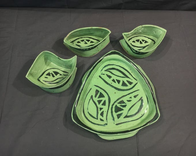 Vintage T Yondo Stoneware, Decorative Green Serving Platter, Serving Tray w/ Three Matching Bowls, Collectible Art Pottery, Ohio Studio Tray