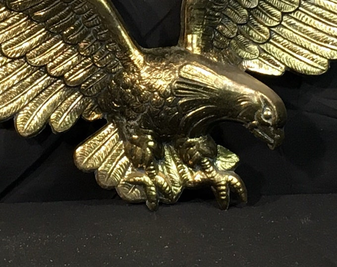Vintage Brass Eagle, Decorative Gold Wall Decor, Wall Hanging Wildlife Art, 7028 Metal Art, United States Eagle, Embossed Wall Decoration