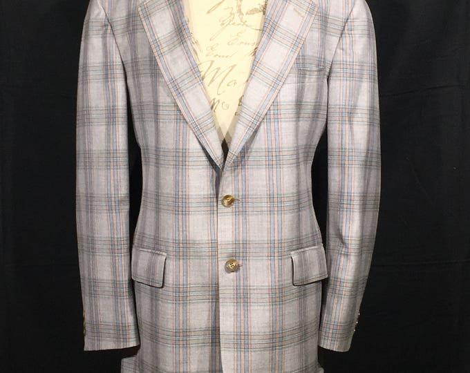 Vintage Plaid Sport Coat, Gray Silver Base Blue Plaid Jacket, Cricketeer Dress Coat, Men's Retro Clothing, Men's Business Office Coat