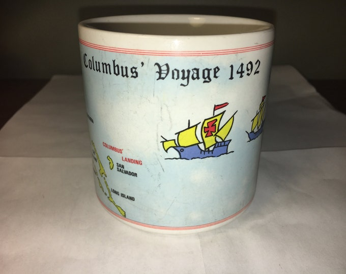 Vintage Columbus Voyage 1492 Mug Cup w/ Mayflower Bahamas Spain Panoramic View
