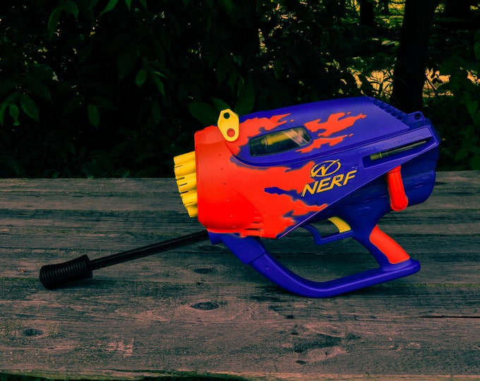 Vintage Nerf Gun, Airjet Power, 1999 Hasbro, 20 Round, Single Shot, Gatling Style, Kids Toy, Front Pump, Neon Orange, Childrens Decor