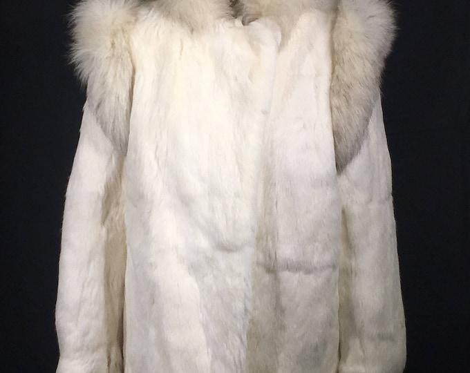 Vintage Bermans Fur Coat, 100% Genuine Rabbit Winter Coat, White & Gray Fur Coat, Women's Size Large Coat, Formal Dress Coat,Luxury Clothing