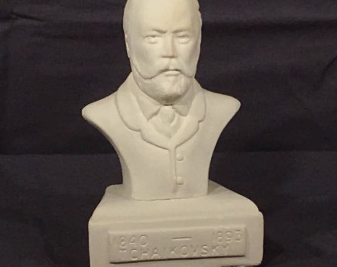 Vintage Composer Bust, Tchaikovsky 1840-1893 Statue, Decorative White Chalkware Art, Musician Memorial, Collectible Orchestra Art Gift