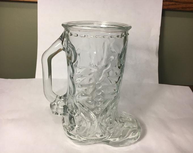 "Vintage Collectible Mug, Clear Glass Cowboy Boot Mug, Country Decor Succulent Vase, Kitchen Glassware Mug, 6.5"" Mexico 4 Bottom Stamp"