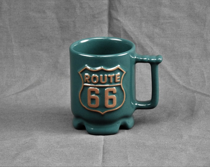 Vintage Route 66 Mug, Frankoma Pottery, Green & Brown Cup, Kitchen Decor, Ceramic Drinkware, Stoneware Collectible, USA C1