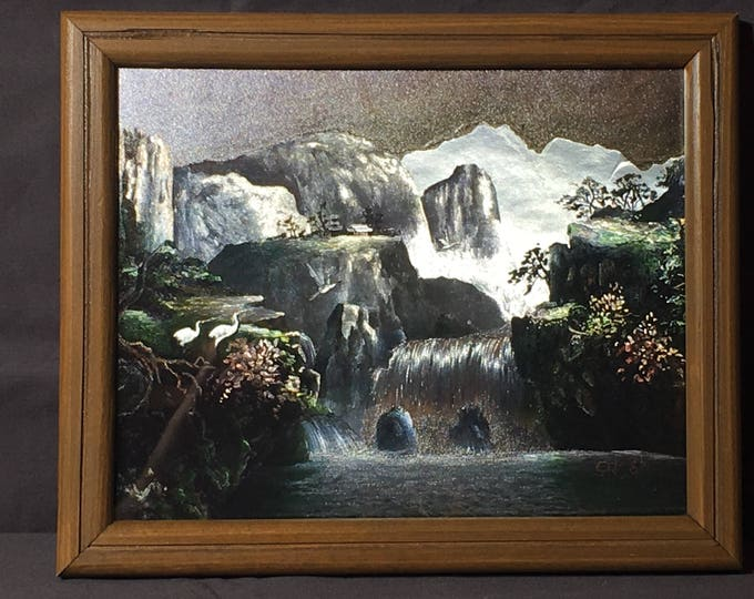 Vintage Metallic Picture, O Jong K Waterfall Art, Decorative Foil Like Artwork, Collectible Wall Hanging, Silver & Gray Framed Wall Art
