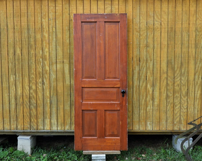 "Antique Interior Door, Architectural Salvage, Solid Wood, Home Decor, Distressed White, Red Brown Cypress, 76 13/16"" Tall x 30"" Wide"