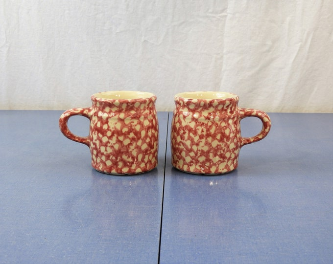 Vintage Spongeware Mugs (2), Signed DR, Red Stoneware Cups, The Workshops of Gerald E Henn, Kitchen Decor, Ceramic Roseville Collectibles