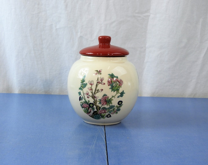 Vintage Sadler England Jar, White & Red Tea Caddy, Porcelain Storage, Indian Tree Bowl, Kitchen Decor, Ceramic Decoration, Trinket Dish