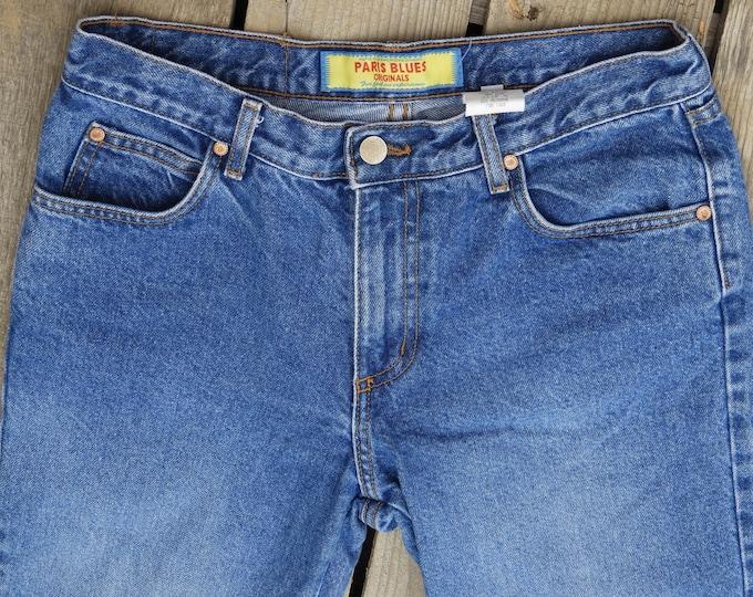 Vintage Mid Rise Jeans, Boogie Boho Fashion, Paris Blues Originals, 100% Cotton, Made in USA, Flared Leg, 28 W x 32 I, Bootcut Blue Jean