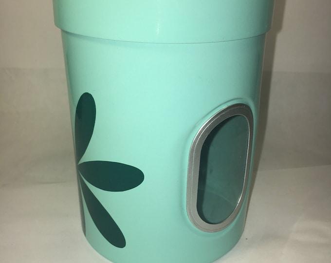 "Retro Kitchen Canister Sea-foam Green Sight Window Petal 5.5"" tall 4"" wide"