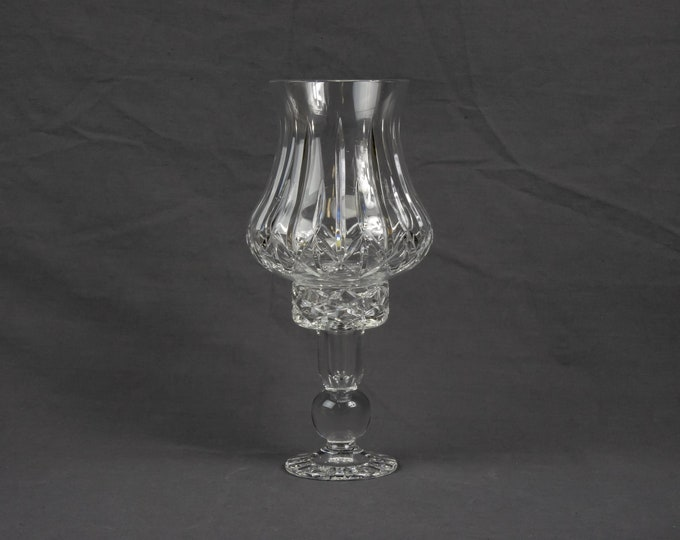 Vintage Hurricane Globe, Block Candleholder, Clear Crystal, Candle Holder, Heavy Glass, Home Decor, Entryway Decoration, Olympic Pattern