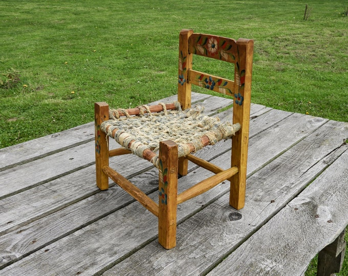 Antique Doll Chair, Southwestern Style, Primitive Folk Art, Cedar Wood, Woven Denim, Yellow Wash, Blue Flowers, Play Decor, Home Decoration