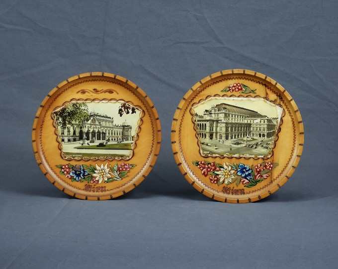 Vintage Vienna Decor, Wien Staatsoper, Schloss Belvedere, Wooden Plates, Wall Hanging, Home Decoration, Brown & White, Mod Podge, Europe Art