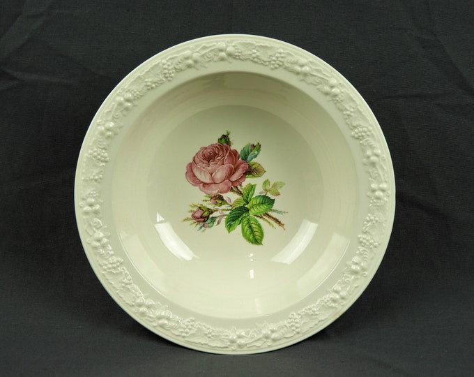 Vintage Homer Laughlin Bowl, 1940s Serving Dish, Eggshell Theme, White Dinnerware, Embossed Rim, Pink Rose, Kitchen China, Home Decor