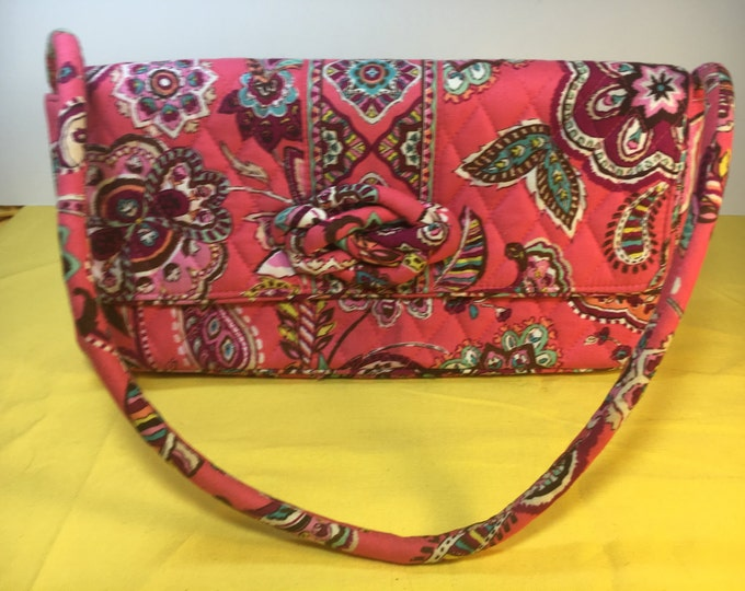 "Vera Bradley Retired Call Me Coral, Pink & Red Hand Bag Purse, 12"" x 6.5"", Vera Shoulder Bag"