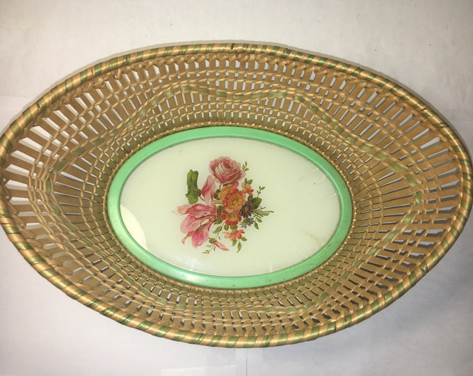 Vintage Vanity Basket, Porcelain & Wood Bowl, Floral Bottom Decoration, Green Metal Rim, Made in USA, Zo Germany on Bottom 10.75""