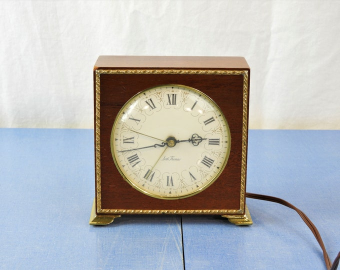 Vintage Mantle Clock, 1970's Seth Thomas, Electric Alarm, Model SS7 - Q, Mahogany Brown, Brass Trim, Poise 1, Home Decor, Shelf Decoration
