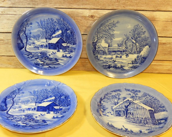 Vintage Currier & Ives Blue White Collectors Plates (4), Homestead in Winter Home in Wilderness, Blue White Decorative Dishes, Made in Japan