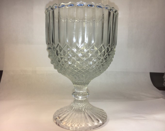 Vintage Glass Goblet, Westmoreland Collectible,  English Hobnail, 1950's Water Cup, Sawtooth Rim, Diamond Design, Home Decor, Dinnerware