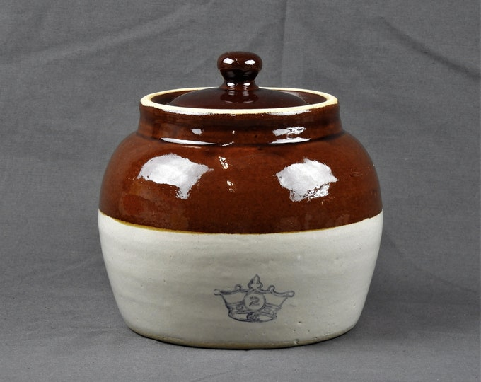 Vintage Bean Pot, Robinson Ransbottom, Stoneware Crock, Brown & White, Kitchen Decor, Crown Mark, 2 Quart, Dinnerware Serving
