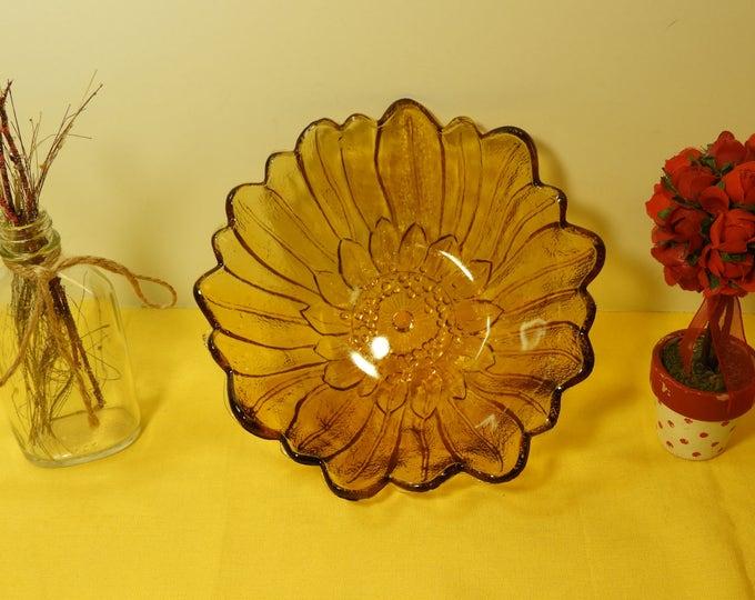 Vintage Carnival Glass Candy Bowl Dish, Indiana Carnival Glass, Sunflower Carnival Glass Art, Floral Orange Amber Bowl, Decorative Nut Dish