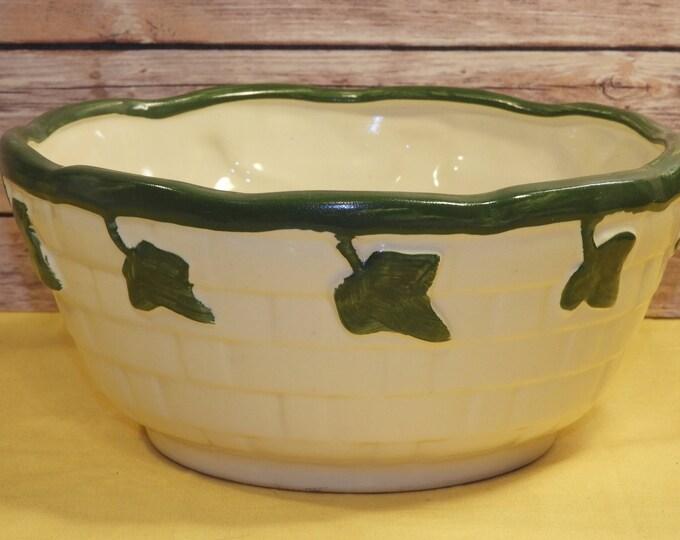 Vintage Roseville Ceramics Pottery Bowl Antique?, Excellent Condition Green Serving, Vine Dish Rolled Rim Basket Weave Design, French Countr