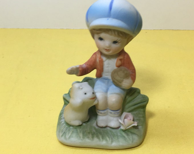 Vintage Figurine, Homco 1430 Figurine, Little Boy Red Sweater w/Dog,