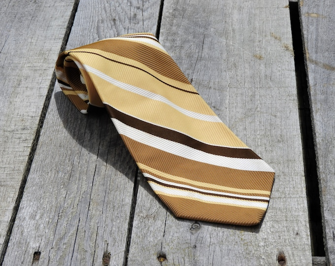 Vintage Yellow & Gold Tie, Towncraft Polyester Necktie, Wide Bottom Tie, Mens Fashion Accessory, J C Penney Clothing, Retro Gold Neck Tie