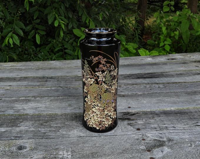 Vintage Black Vase, Golden Kiku, Toyo Shibata, Oriental Centerpiece, Entryway Decoration, Home Decor, Chysanthemum Flowers, Dragonfly Japan