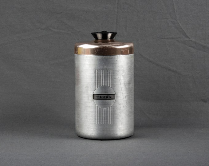 Vintage Kitchen Canister, Art Deco Style, Aluminum & Copper, Food Storage, Silver Color, Home Decor, Metalware Collectible
