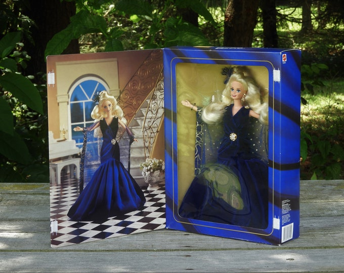 Vintage Sapphire Dream Barbie, Society Style Collection, Limited Edition, 1995 Mattel 13255, Dark Blue, Velvet Dress, Childrens Doll Toy