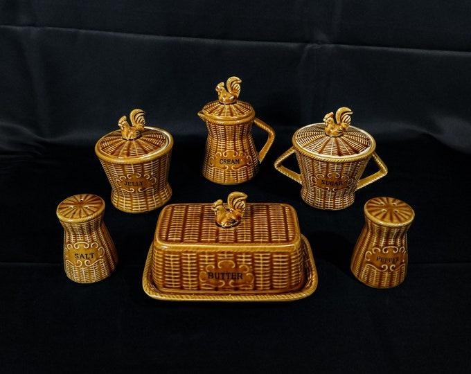 Vintage Serving Set (10pcs), Tilso Majolica, Rooster Folk Art, Brown & Gold, Basket Pattern, Butter Dish, Sugar Bowl, Jelly Jar, Home Decor