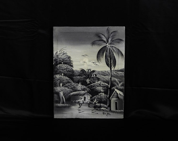 Vintage Haitian Painting, Folk Art, Oil on Canvas, Signed Jn Jn, Wood Frame, Palm Trees, Coastal Tropical, Wall Hanging, Home Decor