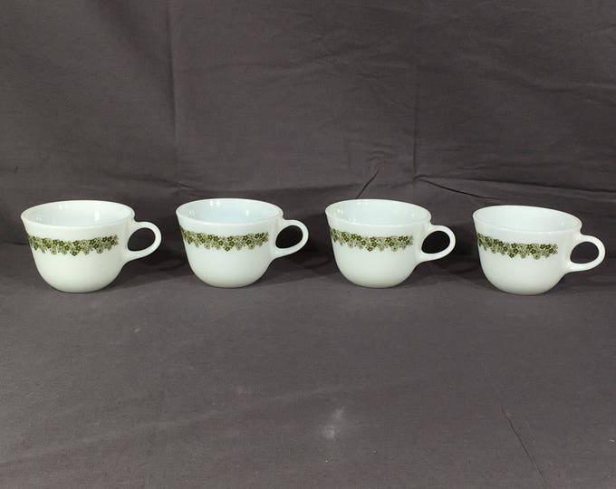 Vintage Spring Blossom Tea Cups (4), Pyrex Crazy Daisy Mugs, White Milk Glass Mugs, Decorative Cups, Collectible Glassware, Dinnerware Mugs