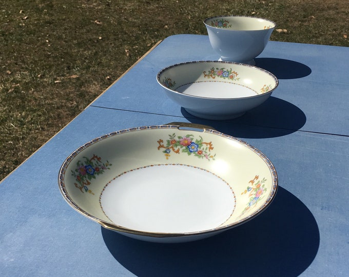 Vintage Meito Serving Bowls (3), Annabelle Dinnerware, Bone China Kitchenware, Gold Pink Bowls, Fine China Decorations